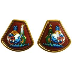 Vintage Hermes cloisonne golden earrings with colorful perfume bottle design.
