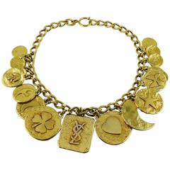 Yves Saint Laurent Vintage Gold Tone Iconic Charm Necklace