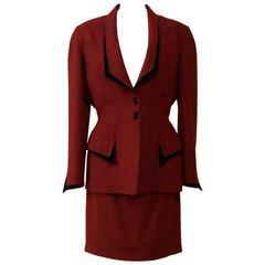 1990s Thierry Mugler Twill Wool Suit Dress