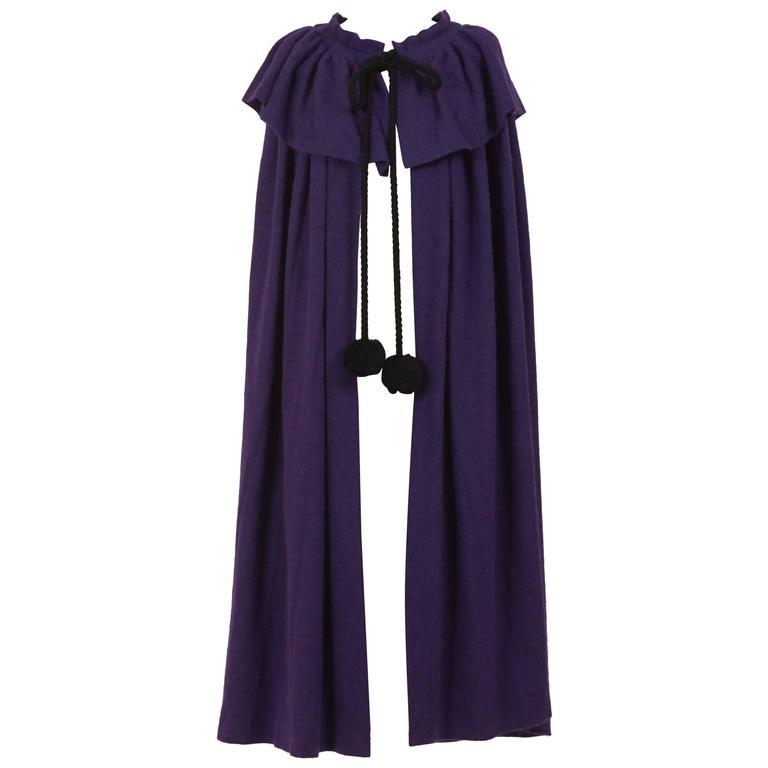 1970s Saint Laurent Rive Gauche Purple Wool Cape Cloack Coat For Sale
