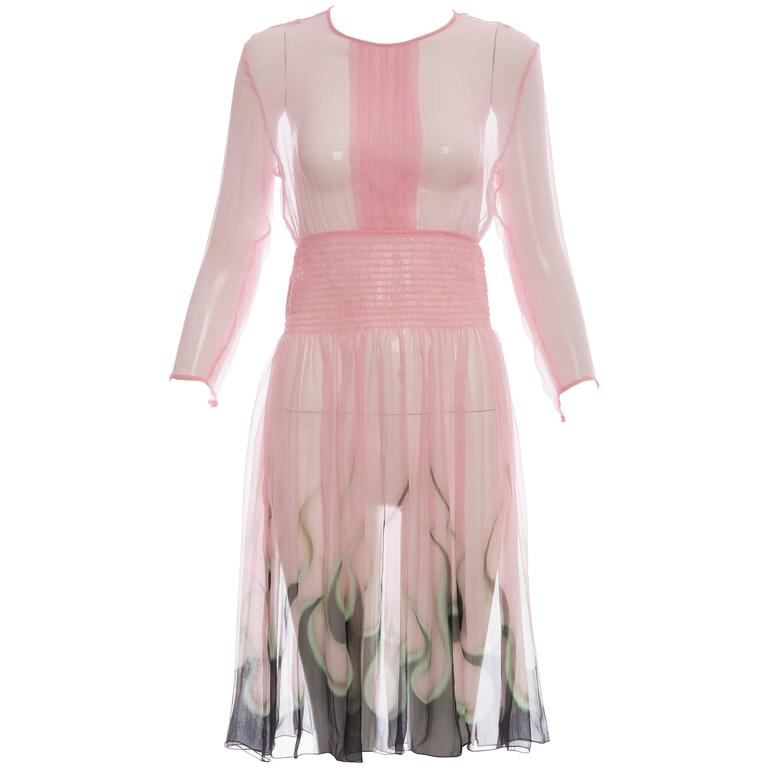 Prada Pink Silk Chiffon Dress With Flame Print At Hem, Spring 2012 1