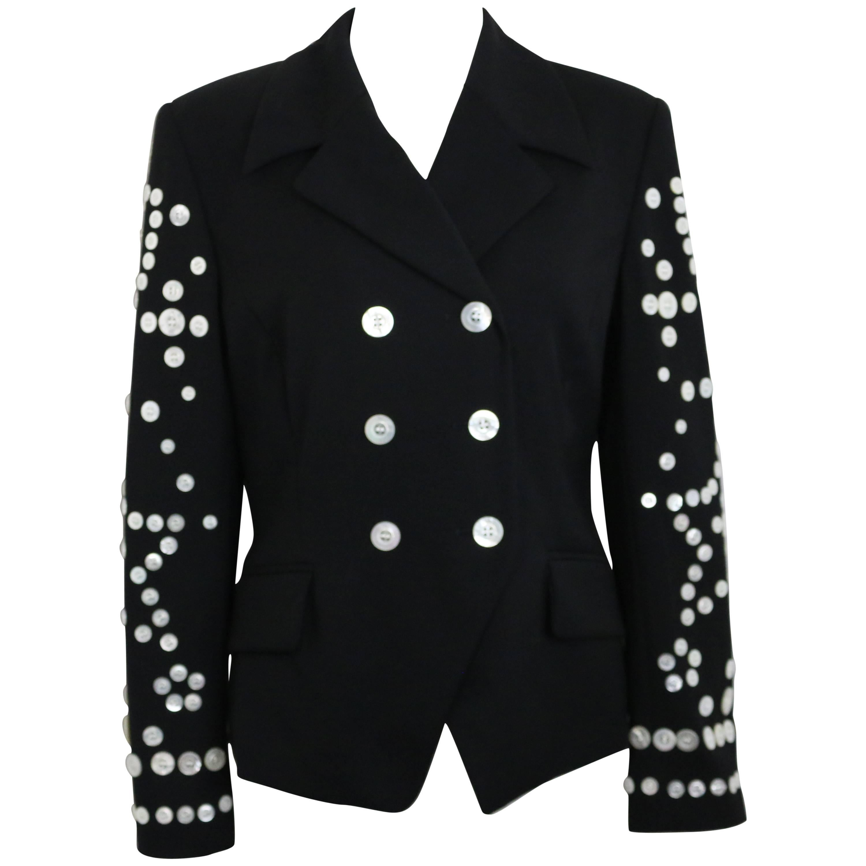 Escada Black Wool With Shell Buttons Double Breasted Jacket