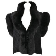 Valentino Black Cashmere and Fox Fur Sweater Vest Jacket