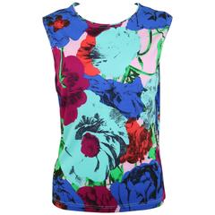 Gianni Versace Couture Colour Floral Print Tank Top