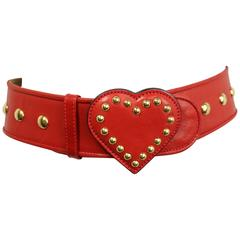 Moschino Red Leather Studded Heart Belt