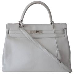 Hermes Kelly 35 Bag White Togo Leather Palladium Hardware