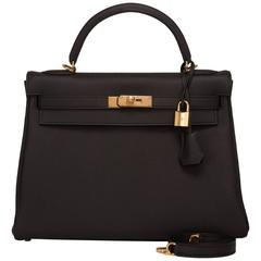 Hermes Black Togo Kelly 32cm Gold Hardware