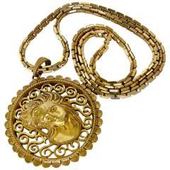 Lucien Piccard Art Nouveau Figural Womans Head Pendant + Chain Necklace 1970s