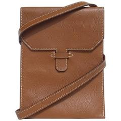 Hermes Pochette Shoulder Bag Cross Body Clutch Gold Epsom Leather