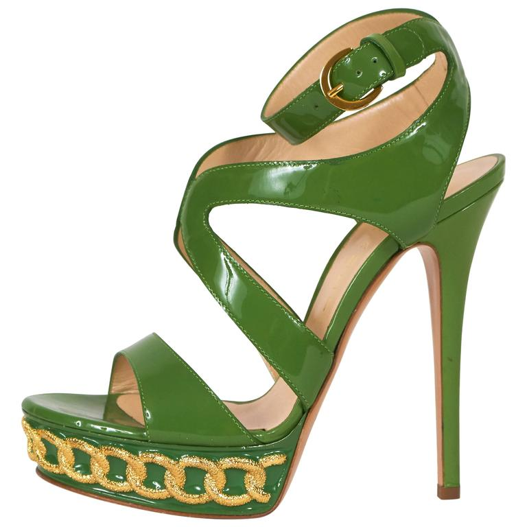 Casadei Made in Italy Green Patent Leather High Heel Platform Sandals 1