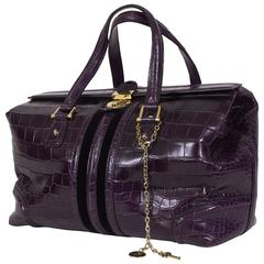Gucci Purple Crocodile Tote Bag
