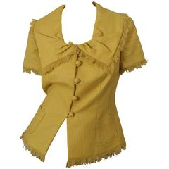Christian Dior Marigold Short Sleeve Blazer with Frayed Hem