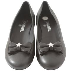 Chanel Black Leather Ballerina Flats with Grosgrain Bow & Crystal