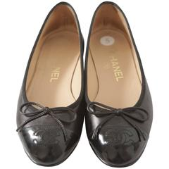 Chanel Black Leather/Patent Leather Classic Flats