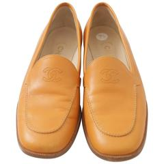 Chanel Tan Leather Loafer W/ 'CC' Logo