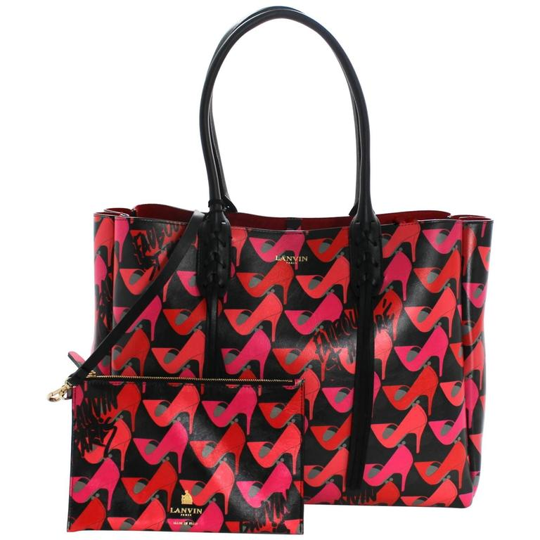 Lanvin Pink Shoe Print on Black Leather Tote Bag 1