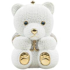 Judith Leiber Wedding $4695 White Gold Tone Faux Pearl Rhinestone Bear Bag