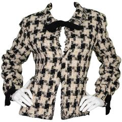 Chanel Black, White & Beige Tweed Houndstooth Jacket with Neck Tie Sz 42