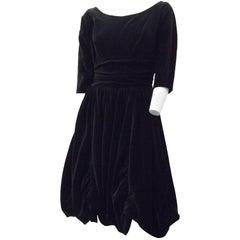 50s Black Velvet Bubble Skirt Cocktail Dress