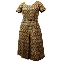 60s Gold Metallic Brocade Dress