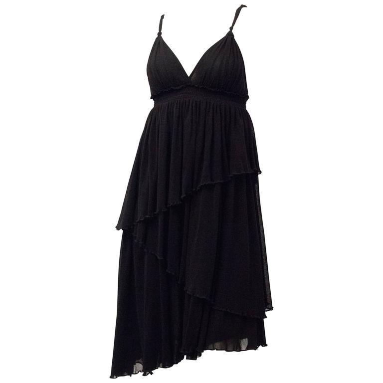 90s Jean Paul Gaultier Black Mesh Sun Dress