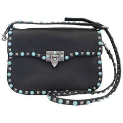 Valentino Rockstud Rolling Black/Silver/Turquoise Cross Body Bag Purse