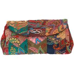 Oscar de la Renta Multi-Colored Patterned Silk Patchwork Evening Bag - SHW