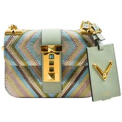 "Valentino New with Tags Multicolor Pastel Rhinestone ""Lock"" Shoulder Bag"