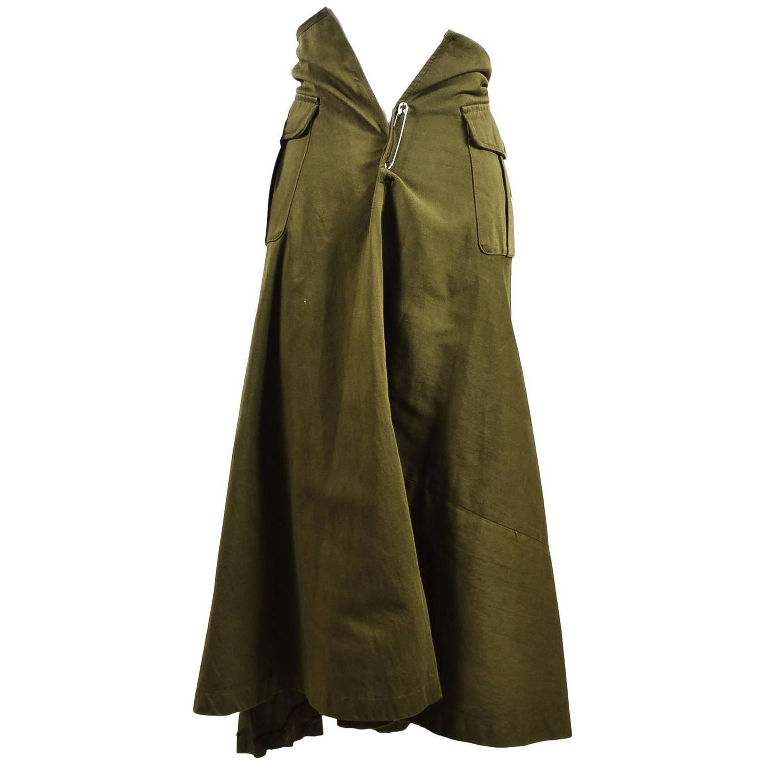vintage comme des garcons army green pocketed long a line skirt size small at 1stdibs. Black Bedroom Furniture Sets. Home Design Ideas