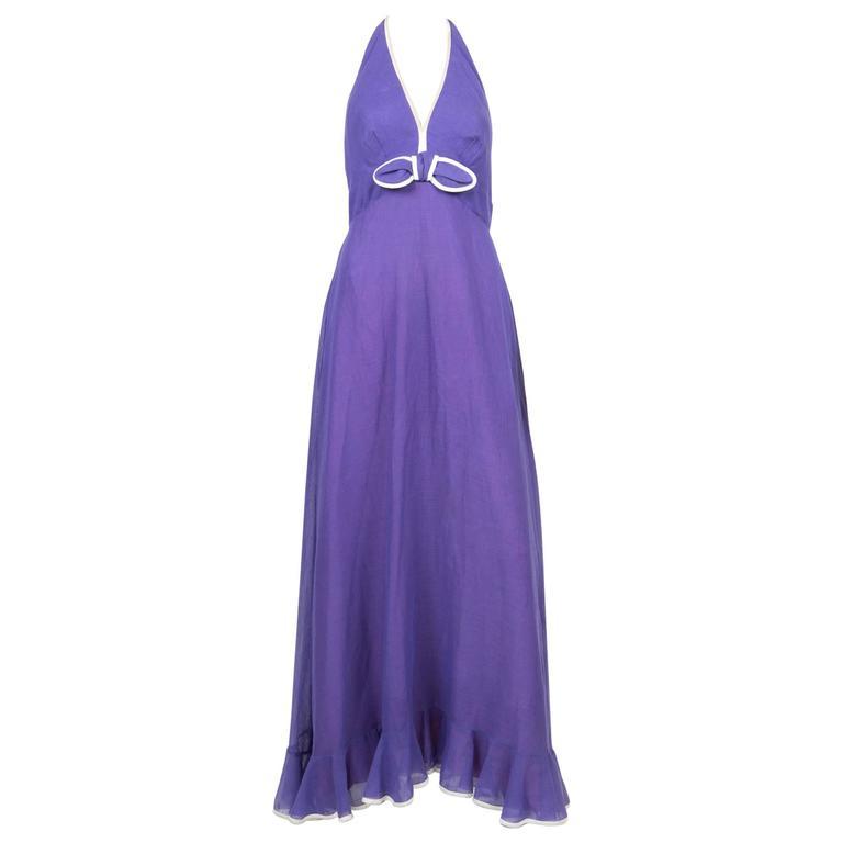 Gorgeous 70s Elliette Lewis Purple Cotton Dress For Sale