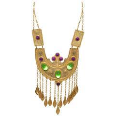 Alexis Kirk Vintage Etruscan Glass Cabachon Massive Statement Necklace