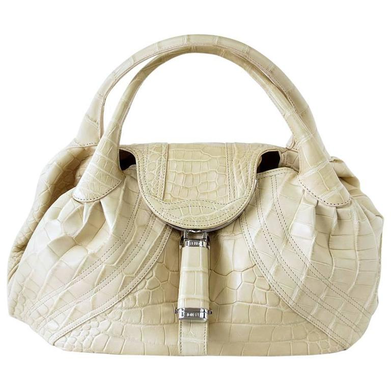 f5ba8a1718f5 Fendi Matte Cream Crocodile Spy Bag For Sale at 1stdibs