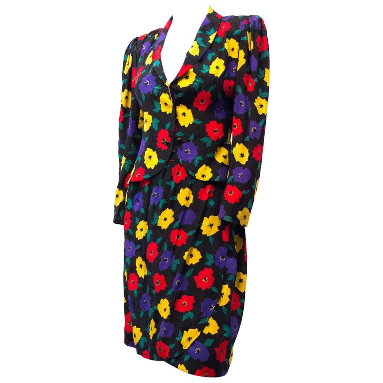 80s Emanuel Ungaro Floral Silk Skirt Suit