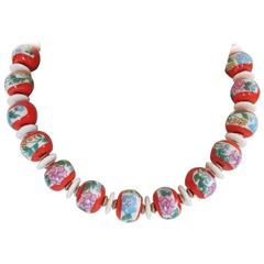 Masha Archer Thousand Flowers Red Wreath Necklace