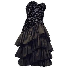 80s Black Velvet Rhinestone Studded Cocktail Dress with Tiered Taffeta Skirt