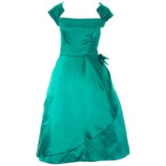 Philip Hulitar 1950s Vintage Dress Green Satin Bow Beautiful Neckline Size 6