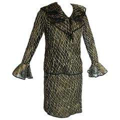 Bill Blass Black + Gold Illusion Lace Jacket + Skirt Suit with Ruffle Detail 70s