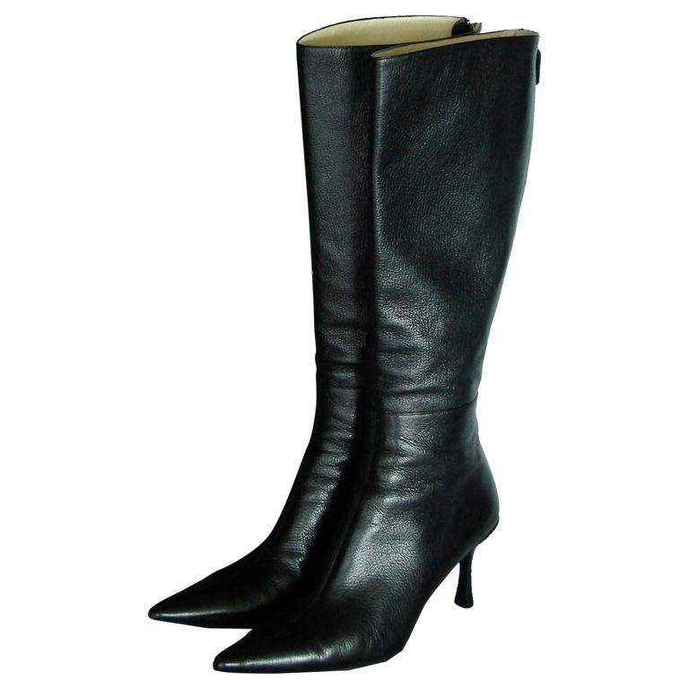 Gucci Black Kidskin Leather Knee High Boots Gomma Bali sz7.5 + Box + Dust Cover 1