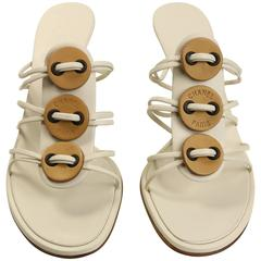 Chanel Sand Beige Leather Sandals