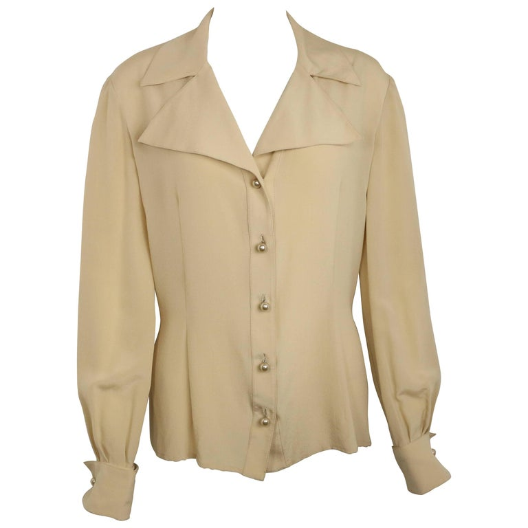Valentino Beige Silk Blouse Shirt  For Sale