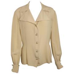 Valentino Beige Silk Blouse Shirt