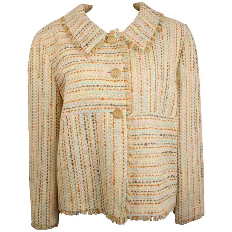 Chanel Multi coloured 3/4 Sleeves Tweed Jacket