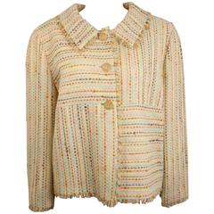Chanel Multi coloured 3/4 Sleeves Tweed Jacket