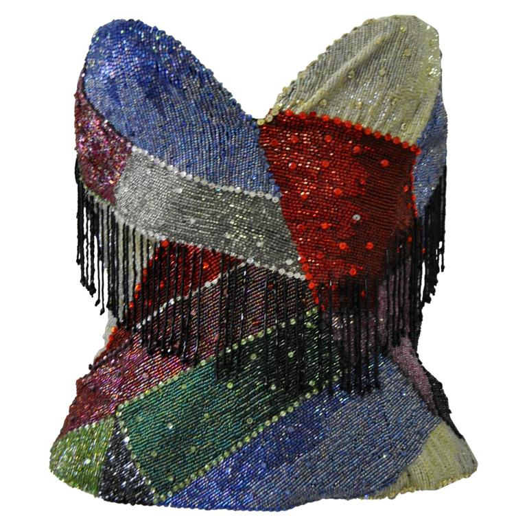 Museum Quality Atelier Versace Beaded Fringed Silk Bustier 1
