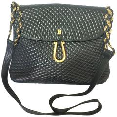 Vintage Bally classic black quilted leather shoulder bag with golden chain strap