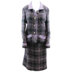 60's Chanel Couture 3 Piece Purple Tweed Suit