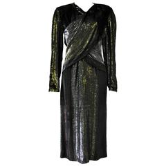 Rare Paco Rabanne Velvet Lame Cross Front Bodycon Disco Era Dress