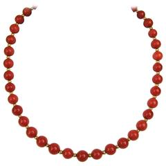 1940's Stunning Red Coral Beaded Gold Necklace