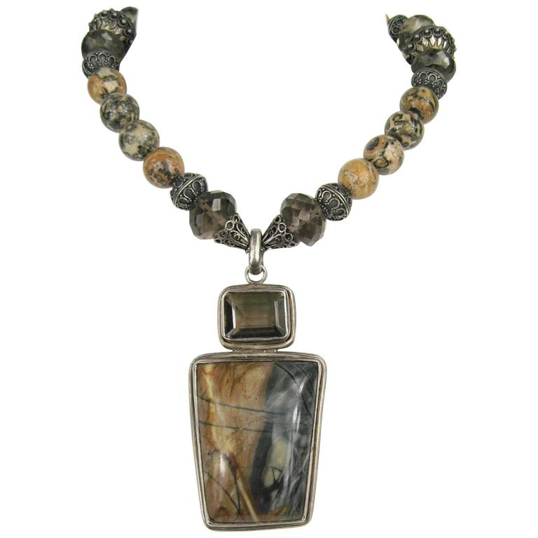 Sterling Silver Agate Modernist Beaded Necklace  1