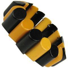 1930's True Vintage Bakelite Catalin Stretch Yellow & Black Bracelet